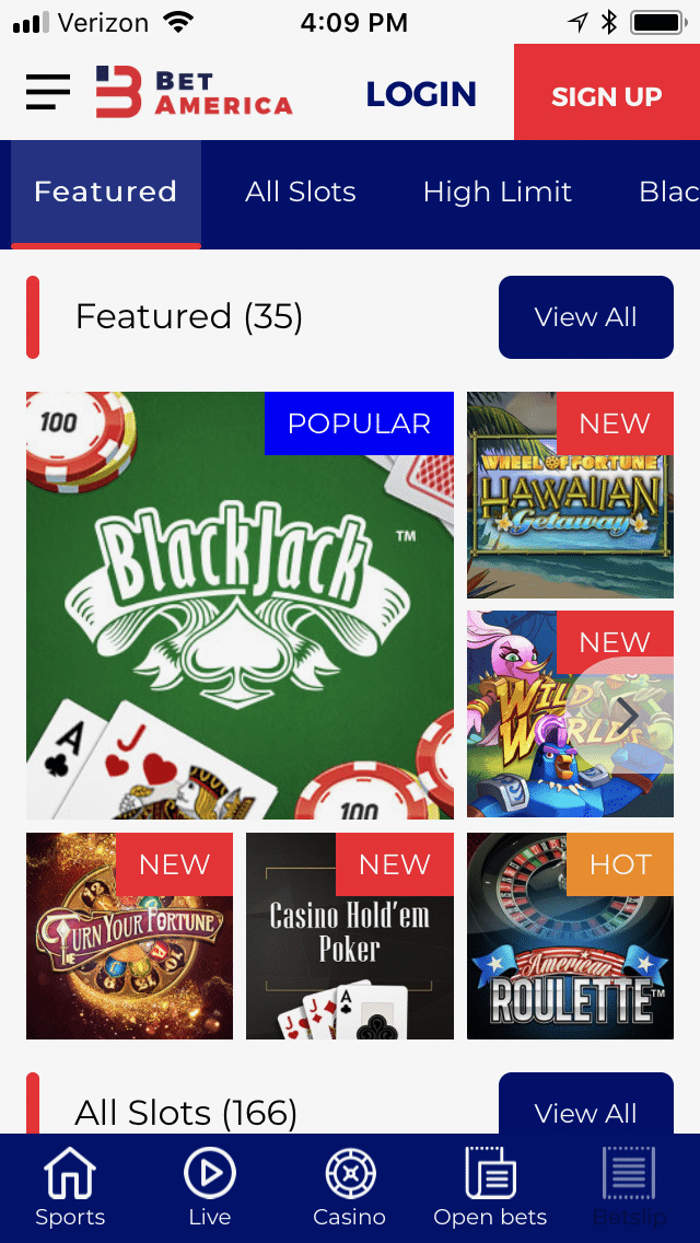 BetAmerica mobile casino 1