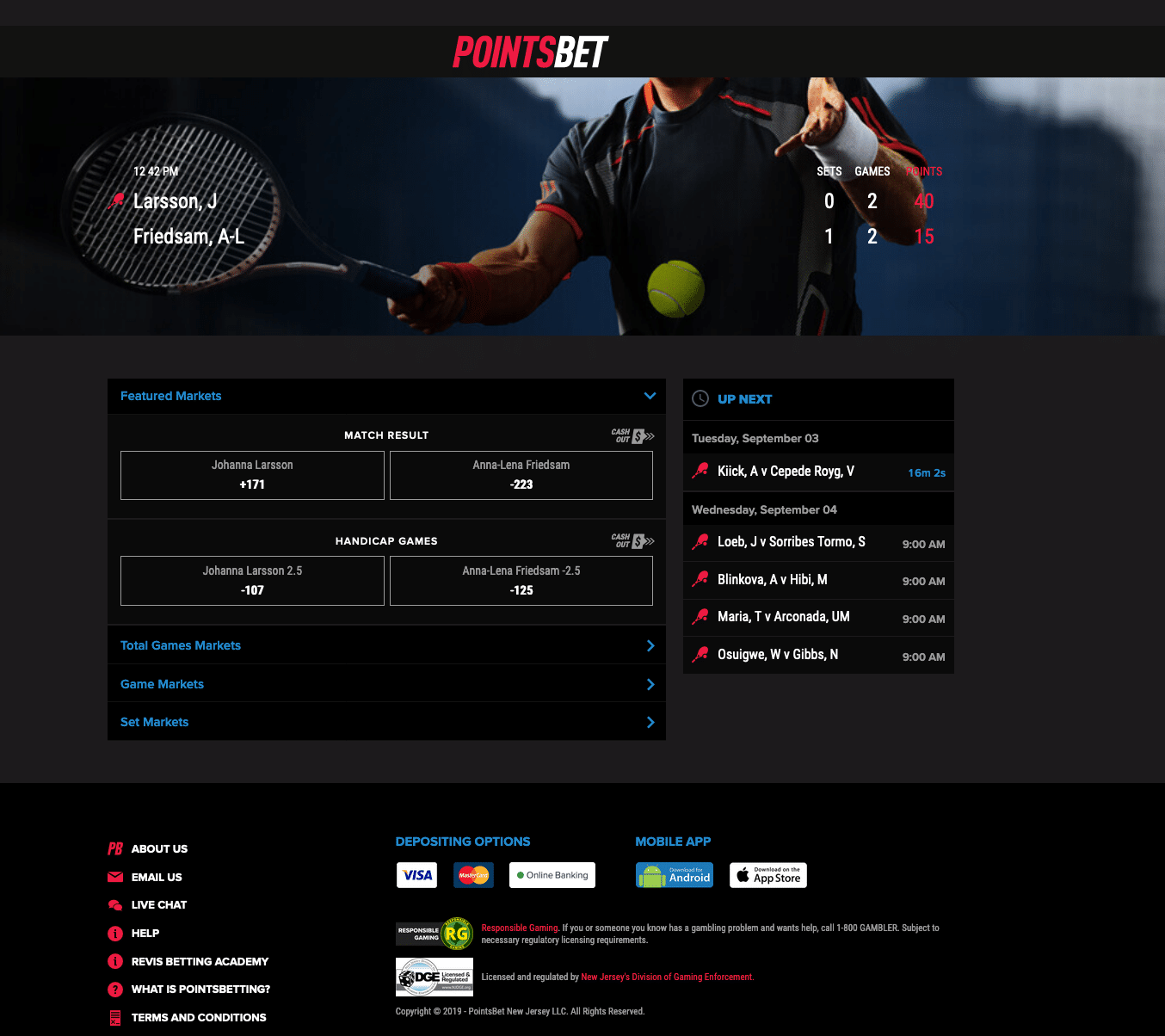 PointsBet in play betting 2