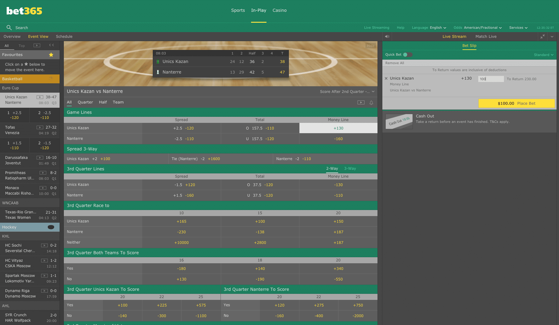 Bet365 in play betting 1
