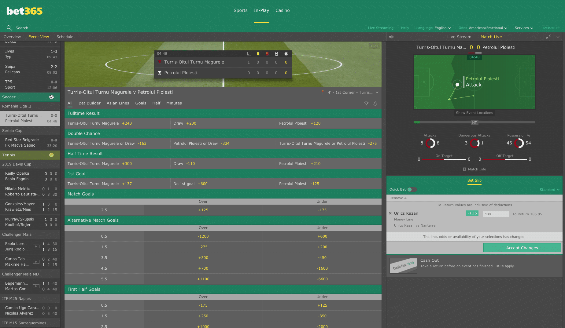 Bet365 in play betting 2