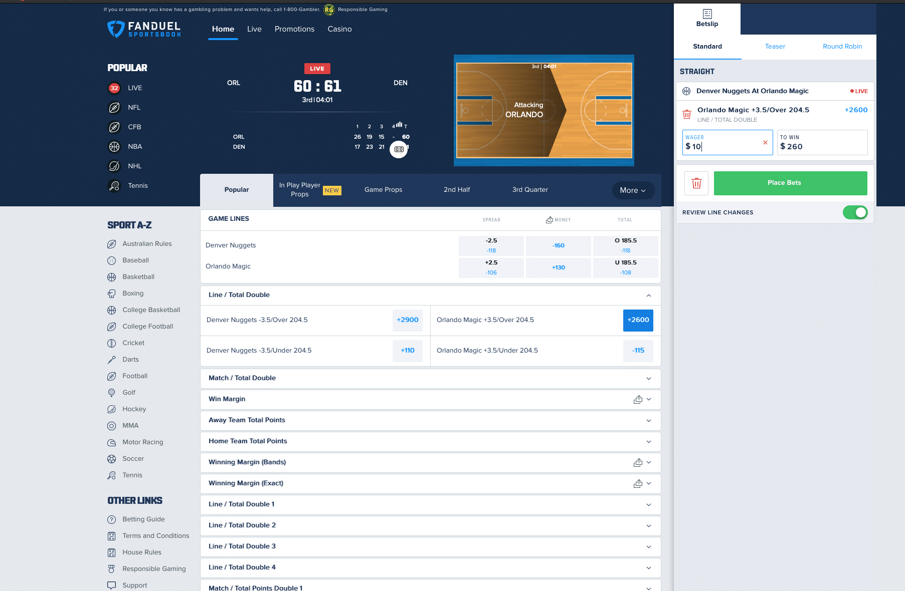 FanDuel in play betting